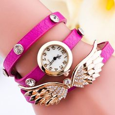 Angel Design Rhinestone Ladies Bracelet Watch,Cheap Trendy on Sale! Purple Braids, Angel Wings Jewelry, Ladies Bracelet Watch, Stylish Watches, Rhinestone Jewelry, Quartz Watch, Bracelets, Pendant Earrings, Pearl Pendant