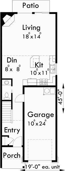 Main Floor Plan For 19 Ft Wide Narrow Duplex House Plans, 2 Story Duplex  Floor Plans, 3 Bedroom Duplex House Designs,