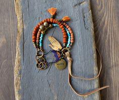 Hippie, Boho, Multi Strand Bracelet, Ethnic, Gypsy, Tassel Bracelet, Kuchi Bell, Karma Charm, Hand Charm Bracelet.
