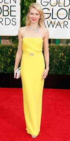 Golden Globes 2015: Red Carpet Arrivals - Naomi Watts from #InStyle in Gucci and a Bulgari necklace.