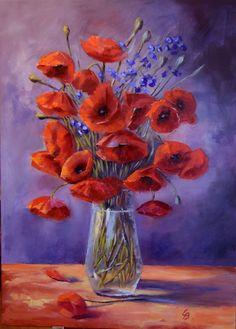 Poppy still life: Poppy still life oil painting on canvas size: 050 x 71 cm price: 340 The post Poppy still life appeared first… #IrishArt #OilPaintingOnCanvas #OilPaintingStillLife