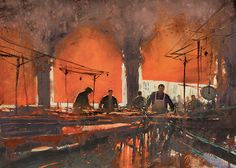 International Masters - Red Awnings: Venice Fish Market - Watercolor by Joseph Zbukvic Extremely Large View