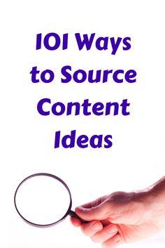 101 Ways to Source Content Ideas - @kissmetrics
