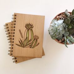 Cactus Bloom Botanical Lasercut Wood Journal
