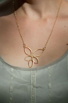 "New Item - Gold ""5 Petals"" Necklace  www.talulahlee.com"