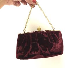 6355a93333ab Vintage Velvet Burgundy Gold Handbag Purse Clutch Evening Bag  Unknown   EveningBag Gold Handbags