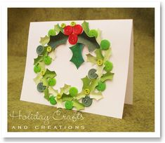 christmas crafts ideas to make at home | Homemade Christmas Card Ideas : Wreath Card