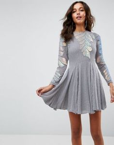 ASOS Sequin Leaf Embellished Skater Mini Dress
