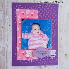 Giggle 6 x 8 scrapbook page Stampin Up By Jenna Watkins - Knife Patterns, Basic Grey, Im Happy, Brighten Your Day, Paper Design, Scrapbook Pages, Stampin Up, Card Stock, Corner