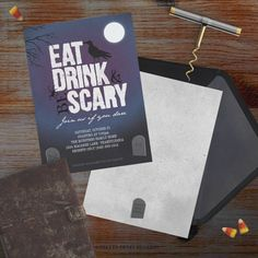 Printable - Eat Drink & Be Scary Halloween Invitation