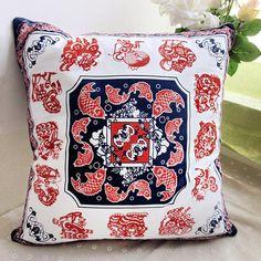 Chinoiserie style zodiac throw pillow red paper cut fish sofa cushions