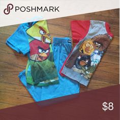 Angry birds pj set of 2 *Boys pj's  *2 short sleeve shirts & 2 pairs of pants *extra pair of pants included (shown in pic) Pajamas Pajama Sets