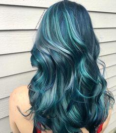 Icy blue, teal, silver mermaid hair