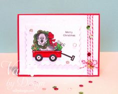ValByDesign.com - Dog in Wagon Christmas Card using Canine Christmas and Wagon of Wishes Stamp Sets by Newton's Nook Designs