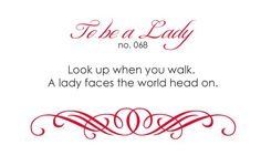 Rules of a lady.