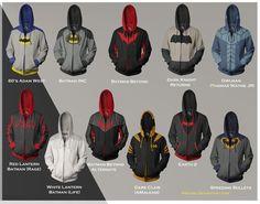Batsuit hoodies. No Green Lantern Batman? No Thomas Wayne Sr. Batman? No Black Lantern Batman? No Hellbat Batman? How about a Christopher Nolan Batman hoodie?