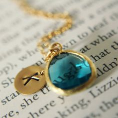 "with a ""P"" please...  Ocean blue Green Monogram Necklace, Gold Filled Initial   $34.00, via Etsy."