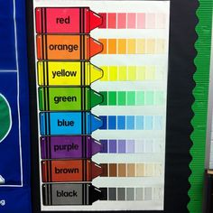 This is a great use of paint samples and would look so cute in a crayon themed classroom. :) Pinned by Jodi from The Clutter-Free Classroom {www.CFClassroom.com}