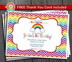 Rainbow Birthday Invitation / Rainbow Party Invite / Rainbow Invitation / Chevron Rainbow