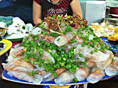 Banh loc tran, made with a tapioca flour-based dough, is stuffed with a more generous portion of shrimp and pork.