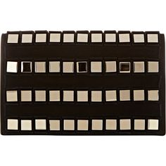 Tomasini Paris Studded Clutch (41,275 MXN) ❤ liked on Polyvore featuring bags, handbags, clutches, black, studded purse, black purse, black handbags, square purse and suede handbags