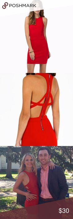 Tobi Red Dress Red Tobi Bodycon dress with open back slits! Tobi Dresses
