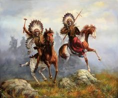 Native American Horses | ... Megastore AMERICAN NATIVE INDIANSWARRIORS WITH HORSES , OIL ON CANVAS