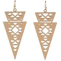 I-Sosceles You Triangle Earrings featuring polyvore, fashion, jewelry, earrings, accessories, joyas, gold, triangular earrings, triangle earrings and triangle jewelry