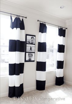 The Creative Imperative: Black and White Horizontal Striped Curtains {made from tablecloths} - I think this may work in the dining room! Bedroom Black, Home Staging, Black Curtains, Home, Striped Curtains, Black And White Dining Room, White Curtains, Baby Room Curtains, Horizontal Striped Curtains