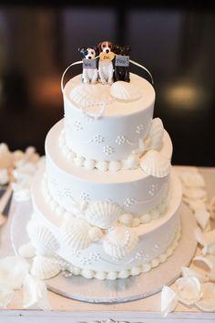 Seashell wedding cake with puppy dog topper Wedding Table Toppers, Dog Cake Topper Wedding, Wedding Cake Rustic, Fall Wedding Cakes, Wedding Cupcakes, Wedding Tables, Different Wedding Cakes, Seashell Wedding, Cute Desserts