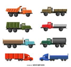 Set of flat isolated truck illustrations featuring different types of trucks and vehicles. Designed in realistic and bright colors.
