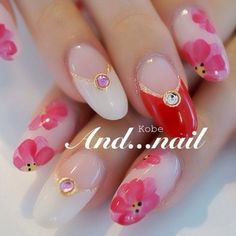 pink flower nail