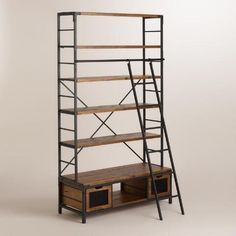 Wood and Metal Bookcase with Ladder | World Market