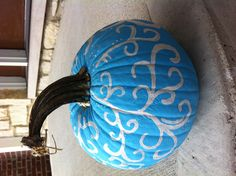 Pumpkin Painting Idea: Blue with white vines - Instead of craving a pumpkin, paint pumpkins!