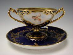 19c Dresden Porcelain Double Handled Cup & Saucer Antique German Cherub Portrait
