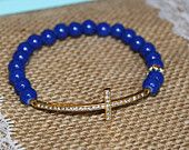 Royal Blue and Gold Rhinestone Sideways Cross Bracelet for Modern Style, Layering, Teens, Faith, Mother's Day, Easter, & Communion