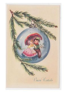 Non Viaggiata cartolina augurale palla di Natale blu vintage con coppia bambini