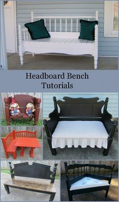 How to make a headboard bench-lots of headboards made into various benches