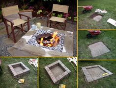 DIY Fireplace Ideas - Outdoor Firepit On A Budget - Do It Yourself Firepit Projects and Fireplaces for Your Yard, Patio, Porch and Home. Outdoor Fire Pit Tutorials for Backyard with Easy Step by Step Tutorials - Cool DIY Projects for Men and Women Backyard Projects, Outdoor Projects, Home Projects, Backyard Ideas, Large Fire Pit, Easy Fire Pit, Fire Pit Plans, Fire Pit With Rocks, Square Fire Pit
