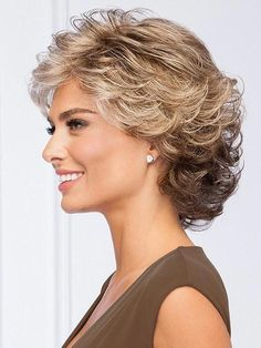 All-over loosely waved layers make styling this pretty, collar-length cut absolu. - - All-over loosely waved layers make styling this pretty, collar-length cut absolutely effortless. Short Hair With Layers, Short Hair Cuts For Women, Wavy Layers, Medium Hair Styles, Curly Hair Styles, Gabor Wigs, Short Curly Hair, Curly Bob, Short Wavy