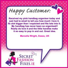 We get loads of customer emails everyday with questions on what we'd suggest to fix certain fashion & beauty dilemmas to emails like this from the lovely Grainne Doyle in Cavan. If you'd like to get in touch just email info we'd love to hear from you xoxo Do Love, Love Her, You Got This, Told You So, Customer Feedback, Handbag Organization, How To Apply, How To Get, Pink Handbags