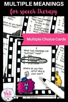 Multiple Meaning Words and Homophones targets Tier II words for students with language disorders in speech therapy or inclusion.Multiple Meaning Words and Homophones includes: Speech Language Pathology, Speech And Language, Language Arts, Speech Therapy Activities, Language Activities, Multiple Meaning Words, Receptive Language, Literacy, Multiple Choice