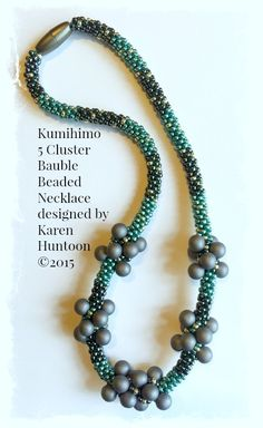 """""""Kumihimo 5-Cluster Bauble Beaded Necklace Kit"""" designed by Karen Huntoon ©2015 (Kit includes everything to make this necklace - $34)"""
