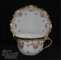Beautiful Flambeau Limoges Handpainted Tea Cup