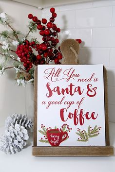 Santa & Coffee FREE Printable - Holiday Hot Cocoa and Coffee Bar party Ideas