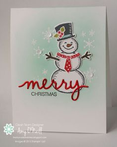 Merry Snowman features Stampin Up's Snow Place stamp set and coordinating Snow Friends framelits from the 2015 Holiday catalog Christmas Paper Crafts, Homemade Christmas Cards, Stampin Up Christmas, Christmas Cards To Make, Noel Christmas, Xmas Cards, Christmas Greetings, Homemade Cards, Holiday Cards