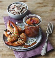 Brochettes de gambas, chutney ananas et caramel au Pineau des Charentes - les meilleures recettes de cuisine d'Ôdélices