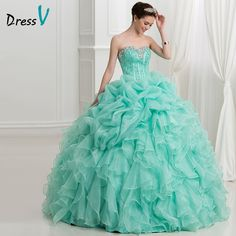 Cheap dress long sleeve tunic dress, Buy Quality dresses for short girls directly from China dress kimono Suppliers: Dressv Mint Green Ball Gown Puffy Quinceanera Dresses 2017 New Ruffles Organza Princess Sweetheart lace up quinceanera dress Quinceanera Dresses 2016, Teal Prom Dresses, Quince Dresses, Pageant Dresses, Ball Dresses, Homecoming Dresses, Ball Gowns, Long Sleeve Tunic Dress, Kimono Dress