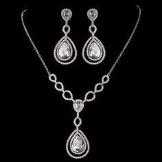 BOGO - Silver Clear Cubic Zirconia Necklace Earring Set 1277