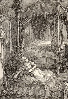 """""""The red-room was a square chamber."""" F. D. Bedford (1932) Bedford is my overall favorite illustrator of Jane Eyre."""